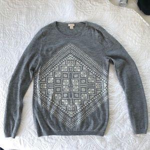 J. Crew Factory Merino Wool Scarf Grey Sweater S